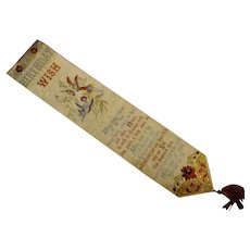 STEVENS Silk Victorian Bookmark 'A Birthday Wish'
