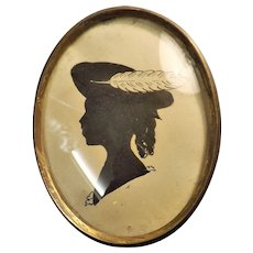 Victorian Silhouette ' Girl With Feather in Her Cap'