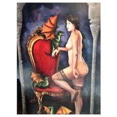 Goth Dragon Lady -Huge Oil on Canvas