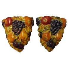 A Pair of Falcon Ware Majolica 'FRUITS' Wall Pocket Vases Circa 1950