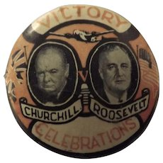 Church & Roosevelt Tin Back VICTORY Badge WW11