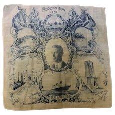 Edward V111  1937 Coronation Commemorative Hankerchief