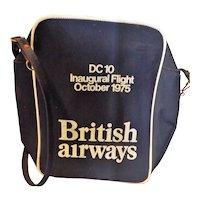 "BRITISH Airways Vintage Cabin Bag ""Inaugural DC10 Flight"" 1975"