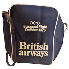 "BRITISH Airways Vintage Cabin Bag ""Inaugural DC10 Flight"" 1975"
