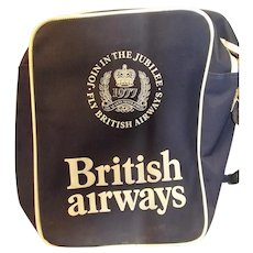 "BRITISH Airways Vintage Cabin Bag ""Queen's Silver Jubilee"" 1977"