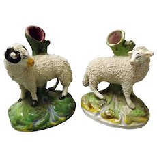 A Pair of Victorian Encrusted Sheep Spill Vases Circa 1850-1860