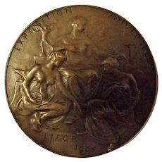 Liege Exposition Universelle Large Bronze Medallion 1905