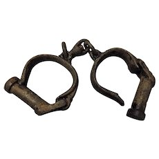 Victorian Solid Cast Iron Military / Prison Handcuffs or Manacles