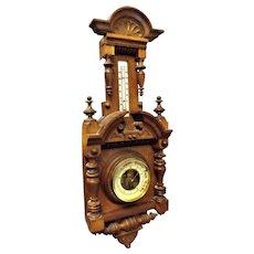 Ornate Edwardian Era English Wall Barometer