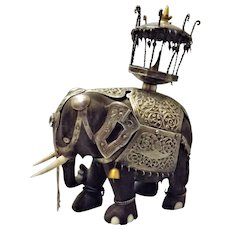Ebony Elephant Ornament with Howdah and Thai .800 Silver Coat