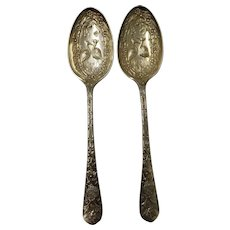 Asethic Movement Nickel Silver Serving Spoons - Dated 1880 England