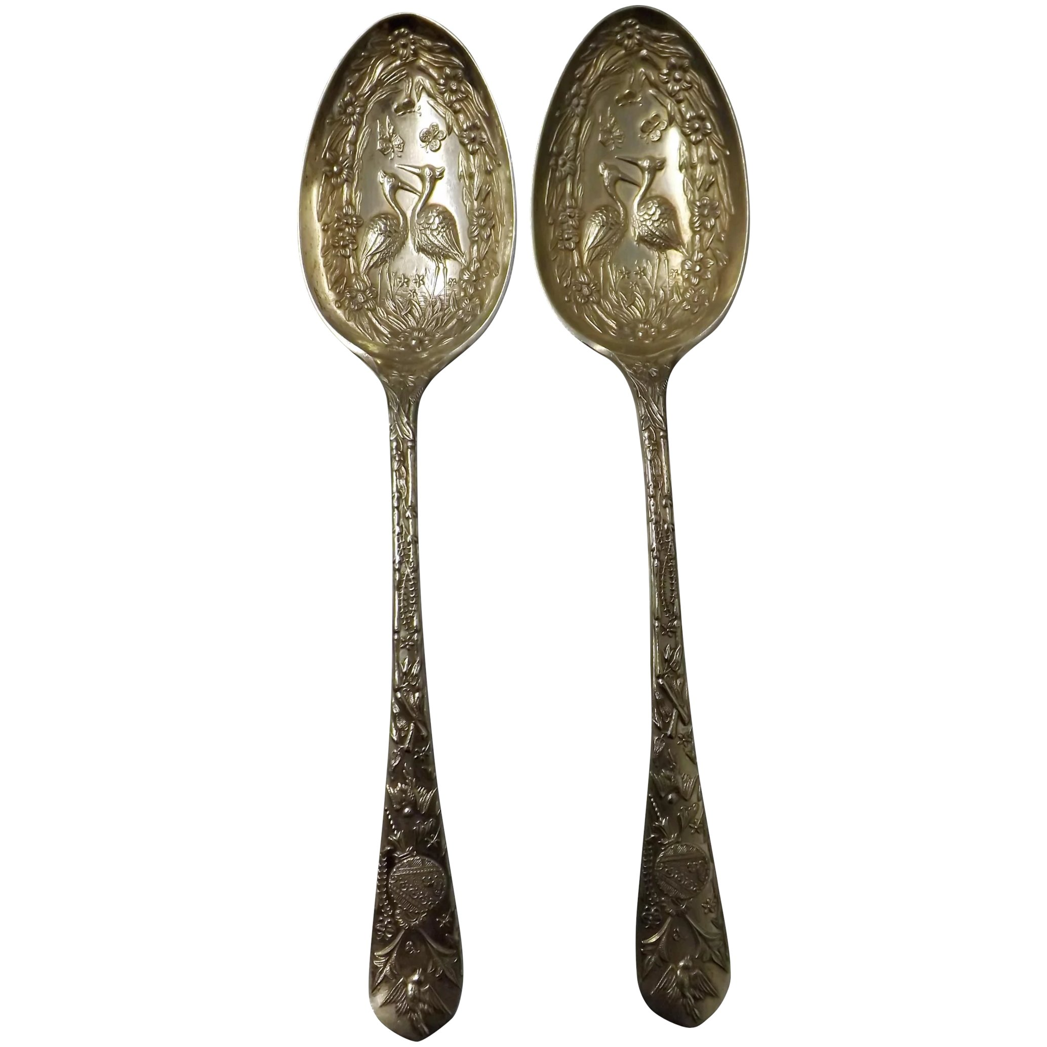 Asethetic Movement Nickel Silver Serving Spoons - Dated 1880 England