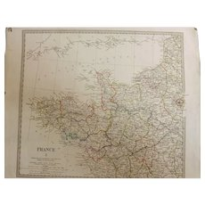 "Antique Map of France By The ""Society for the Diffusion of Useful Knowledge -1830"