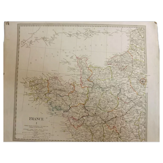 """Antique Map of France By The """"Society for the Diffusion of Useful Knowledge -1830"""