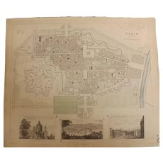 Antique Map of TURIN - Dated 1833