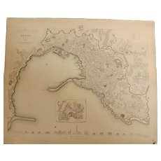 Antique Map of GENOA - Dated 1834