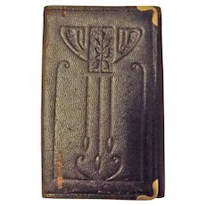 English Art Nouveau Leather Pocket Card Holder Circa 1900 - 1910