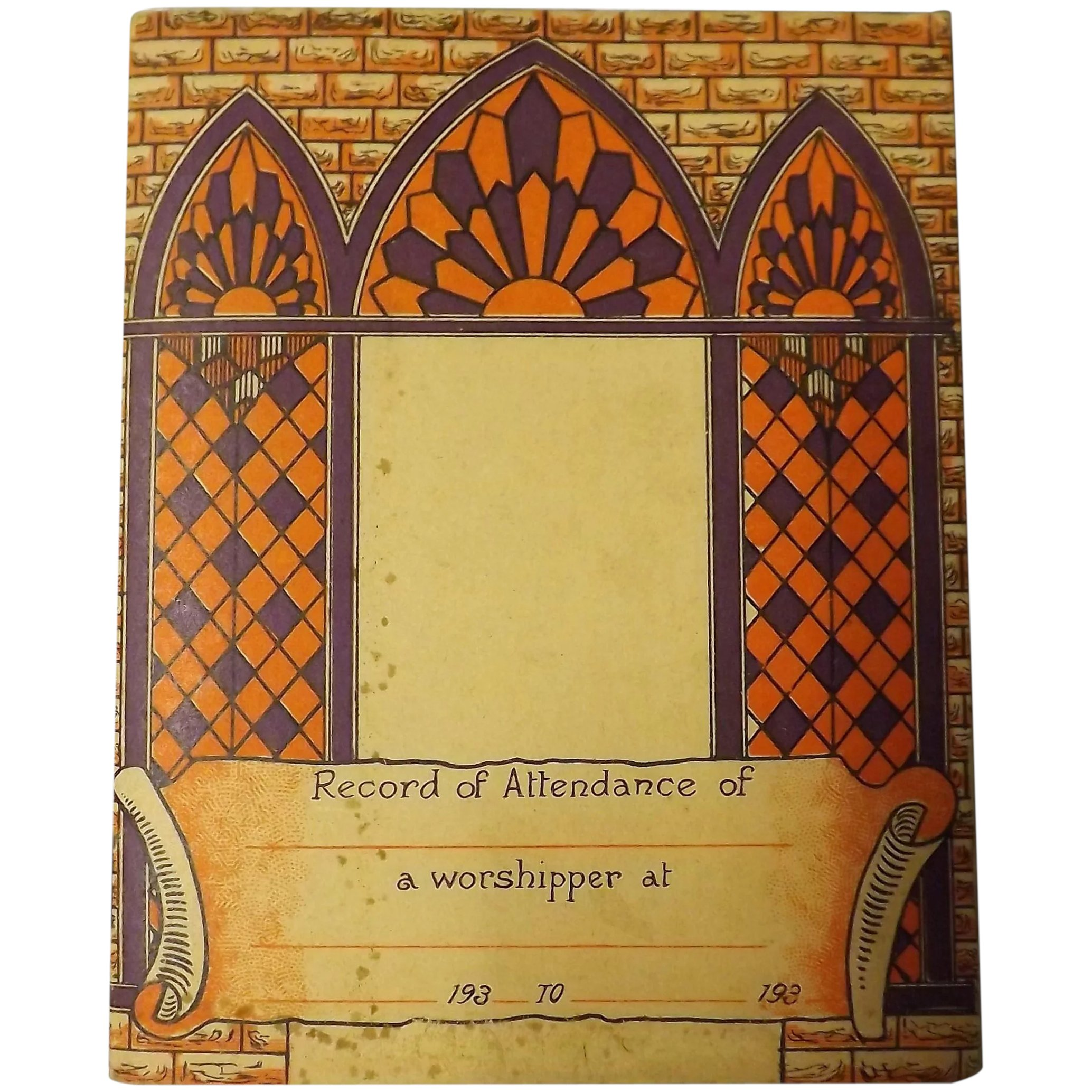Christian Worshippers Attendance Record Booklet Circa 1930's