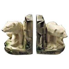 London Zoo Polar Bears Sam & Barbara  -BRETBY Deco Book Ends Circa 1930