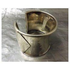 Modernist Beaten Sterling Silver Cuff Bracelet