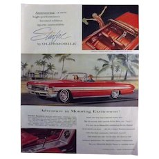 Oldsmobile Starfire 1961 Full Page Advertisement - Saturday Evening Post