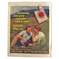 Lucky Strike Cigarettes Original Full Page Advertisement 1961