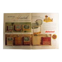 ADMIRAL Television Range For 1954 Original Double Page Advertisement