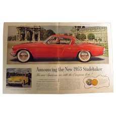 STUDEBAKER Starliner Coupe 1953 Original Double Page Advertisement