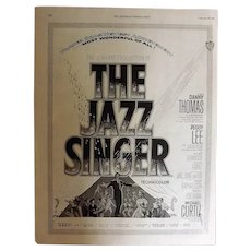 "1953 MOVIE ""The Jazz Singer"" Original Advertisement"