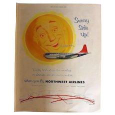 Northwest Airlines Original Full Page 1953 Advertisement