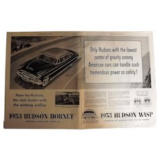 1953 Hudson Hornet & Wasp Genuine Double Page Advertisement
