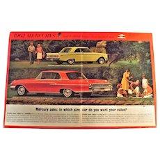 1962 Mercury Monterey & Comet Genuine Double Page Advertisement
