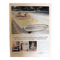 "INKO NICKEL 'Gyroscopic Dream Car""Original 1961 Full Page Advertisement"