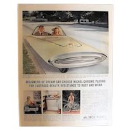 "INKO NICKEL 'Gyroscopic Dream Car""Original 1961 Full Page Advertisement"