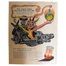 SHELL X-100 Motor Oil Genuine 1952 Full Page Advertisement