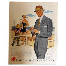 Hart Schaffner & Marx Original 1953 Full Page Advertisement