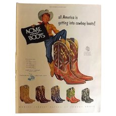 ACME Boot Company Original 1953 Full Page Advertisement