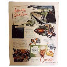 "CAMEL Cigarettes Original Advertisement 1944 - ""Action In The Silent Service"""