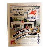MOBILGAS Service Station 1950 Original Full Page Advertisement
