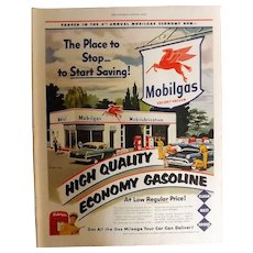 MOBILGAS Service Station 1950 Original Full Page Advertisement