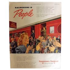 Pennsylvania Railroad 1945 Original Full Page Advertisement