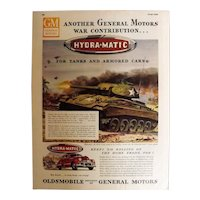 """OLDSMOBILE 1945 Original Full Page Advert - """"Hydra-matic for Tanks & Armored Cars"""""""