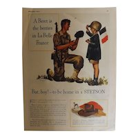 1944 STETSON Original Full Page Advertisement-World War Two