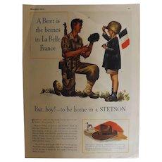 1944 STETSON Original Full Page Advertisement-World War Two