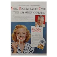 "CAMELS Cigarettes Advertisement Esquire Magazine 1940's - ""More Doctors Smoke Camel"""