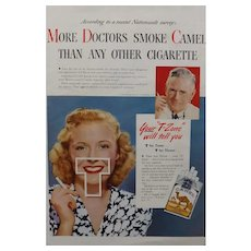 "CAMELS Cigarettes Advertisement Esquire Magazine 1940's - ""More Doctors Smoke Camel"""
