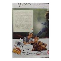 "CAMEL Cigarettes Original Advertisement 1945 - ""Clear That Harbor"""