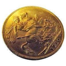 Gold Sovereign Edward VII 1910 London Mint