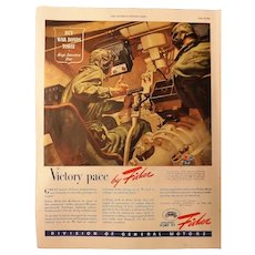 """WW11 General Motors Advertisement """"Victory Pace by Fisher"""""""
