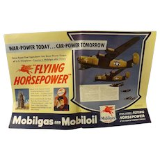 """WW11 Mobilgas Double Page Advertisement """"Flying Horsepower"""""""
